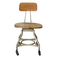 Factory Chair W/ Maple Seat by Toledo Metal Furniture Co C1930