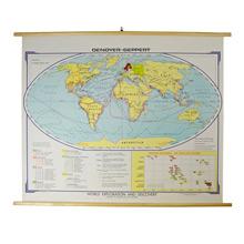 Mid-Century Denoyer-Geppert World Exploration Map c1960s