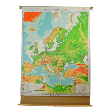 Large Denoyer-Geppert Classroom Map of the Europe c1960s
