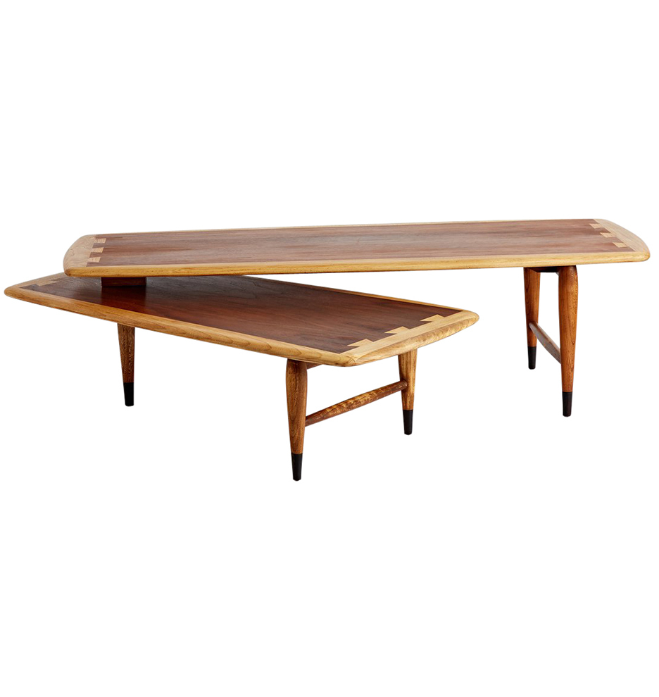 Oak And Walnut Boomerang Coffee Table By Lane Rejuvenation