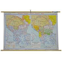Mid-Century Denoyer-Geppert Balkan States Map c1950s