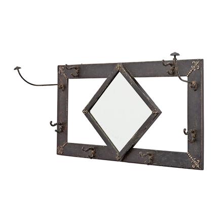 victorian hall mirror w hooks u0026 fleur de lys