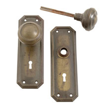 Worn Brass Classical Revival Door Knob Set C1925