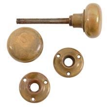 Classic Brass Door Knob Set W/ Rosettes c1920