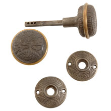 "Corbin ""Ceylon"" Iron and Brass Door Knob Set w/ Rosettes c1890"