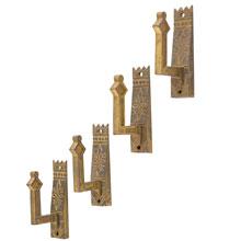 Set of 4 Ornate Wall Hooks W/ Eastlake Motif c1880