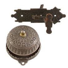 Ornate Cast Iron Doorbell Set w/ Lever c1876