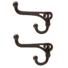 Pair of Hefty Cast Iron Double Coat Hooks c1910