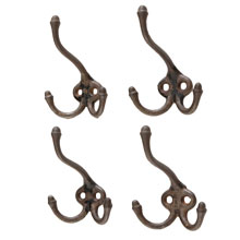 Set of 4 Classic Cast Iron Acorn-Tip Triple Hooks c1870