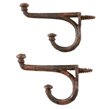 Pair of Iron Button-Tip Hooks w/Integral Screw c1870