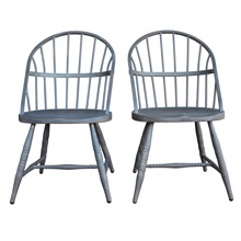 Pair of Raw Steel Windsor Chairs c1920