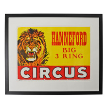 NOS Hanneford Circus Lion Poster c1960s