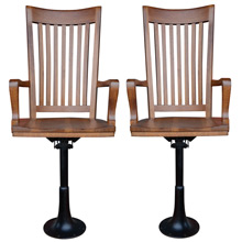 Pair of Oak and Iron High-Backed Jurors Chairs c1925