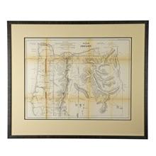 Framed Oregon Surveyor's Map c1861