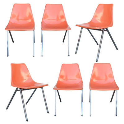 Set of 6 Orange Fiberglass Shell Chairs c1960