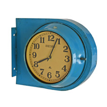 Blue and Yellow Double Sided Naval Clock c1960s