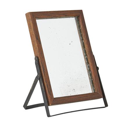 traveling oak shaving mirror w steel stand