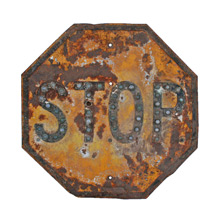 Antique STOP Sign w/ Reflective Marbles C1940s