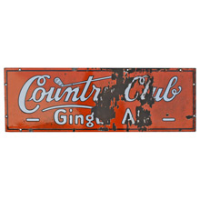 Enamel Country Club Ginger Ale Sign C1940
