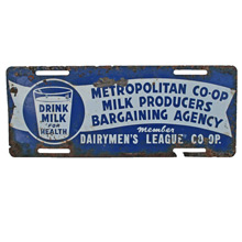 Depression Era Milk Producers Union License Plate Cover C1935