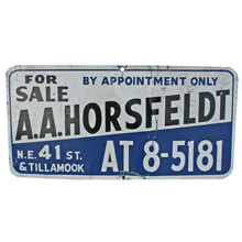 A. A. Horsfeldt Real Estate Sign C1940s
