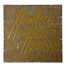 Wonderfully Worn New York New Haven Hartford Railroad Sign c1910
