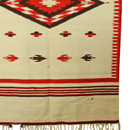 Large Navajo Rug w/ Bird Motif c1970s