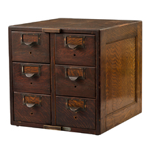 6-Drawer Oak Globe Card Catalog Cabinet c1890