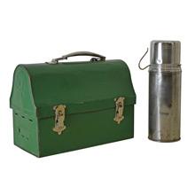 Kelly Green Lunch Box w/ Thermos c1922