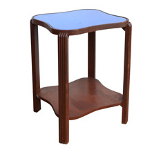 Art Deco Side Table w/ Blue Glass c1935