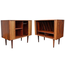 Pair of Mid-Century Oak and Rosewood Record Cabinets c1960