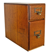 2-Drawer Oak Card Catalog Cabinet c1930