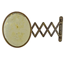 Small Nickel-Plated Scissor Arm Bathroom Mirror c1925