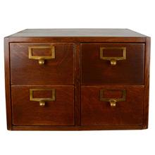 4-Drawer Oak Card Catalog Cabinet c1930