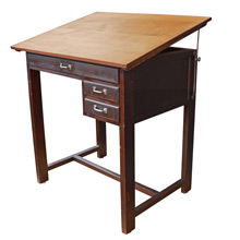 Mid-Century Oak and Pine Drafting Desk c1950s