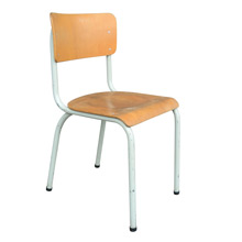 Vintage Plywood School Chair w/ Gray Base c1960s
