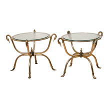 Pair of Brass and Glass Swan Side Tables c1960