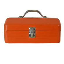 Orange Steel Tool Box w/ Tray Insert c1960