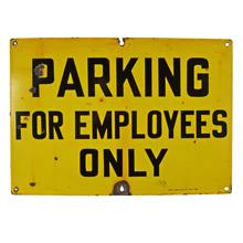 Black and Yellow  Porcelain Enamel Parking Sign c1930