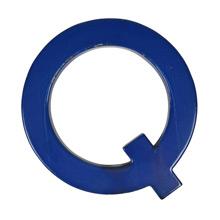 Blue Enamel Sign Letter Q c1950