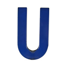 Blue Enamel Sign Letter U c1950