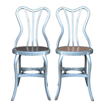 Pair of Toledo Cafe Chairs w/ Wood Seats c1930