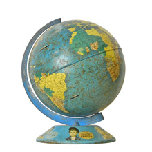 9 Inch Tin Globe w/ Peoples of the World Base c1960s
