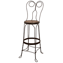 Tall Wrought Iron Wire Stool c1920