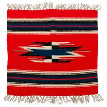 Small Souvenir Navajo Mat w/ Navy Accents c1945