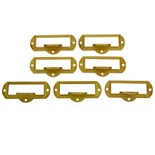 Set of 7 Brass Label Holders c1920s