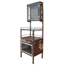 Tall and Rustic Raw Steel Medical Cabinet c1920s