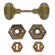 Brass Hexagonal Door Knob Set w/ Rosettes and Escutcheons c1920