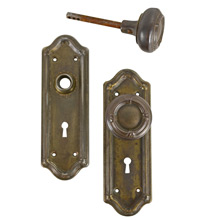 Worn Brass Plated Classical Revival Door Knob Set c1925