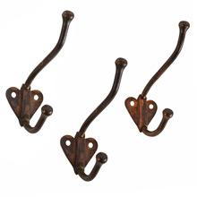 Set of 3 Copper Plated Heart Back Hooks c1910